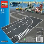 LEGO 7281 City Kurve & T-Kreuzung / T-Junction & Curved Road Plates